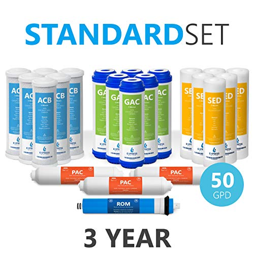Express Water - 3 Year Reverse Osmosis System Replacement Filter Set - 22 Filters with 50 GPD RO Membrane, Carbon (GAC, ACB, PAC) Filters, Sediment (SED) Filters - 10 inch Size Water Filters