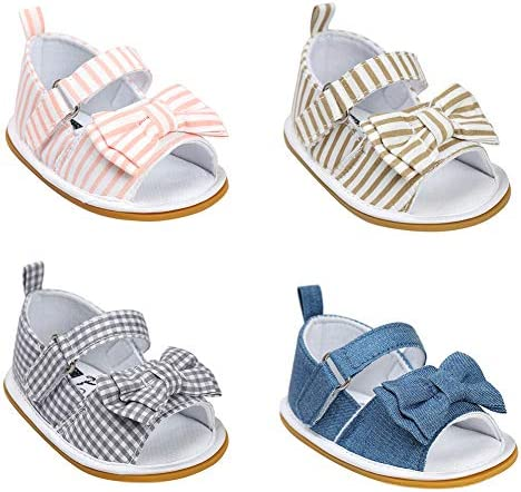 Lovely Bowknot Hollowed Baby Shoes for Newborn Baby Summer Sandals Footwear Toddler Soft Shoes Pink Stripe 0-6 M