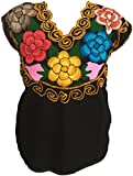 Casa Fiesta Designs Floral Mexican Blouse - Authentic Embroidered Chiapas Blouse - 100% Handmade - Black with Colorful Flowers (Large)