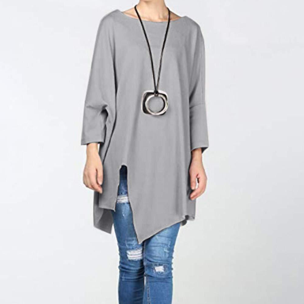 Mujer blusa otoño,Sonnena ❤ Blusa sólida de manga larga otoñal de mujer Asimetría Suelto Pullover Shirt Blusa Tops: Amazon.es: Hogar
