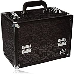 Caboodles Make Me Over 4 Tray Train Case, Black Lace, 3.5 Pound