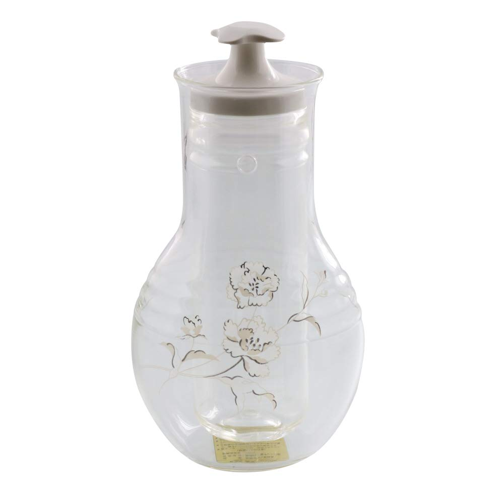 Zen Table Japan Glass Sake Bottle with Cooler Made in Japan - Carnation