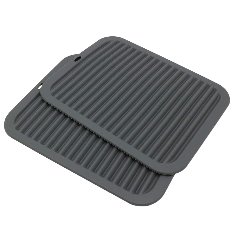 "9/""/×12/""Rectangular large silicone trivet Non slip trivet Jar opener Flexible Durable Large coaster Dishwasher Safe heat resistant mat 2 Pack black"