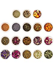 KisSealed Natural Dried Flowers and Herbs Kit for Soap Making,18 Varieties Rose Buds Jasmine Lavender Dry Flower Petals - Lip Gloss Witchcraft Supplies Resin Jewelry Essential Oils for Candle Crafts Nail Art Bath Bombs (10g each bag)