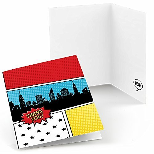 Big Dot of Happiness Bam Superhero - Baby Shower or Birthday Party Thank You Cards (8 Count)]()