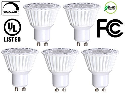 Gu10 Led - 5 Pack Bioluz LED GU10 50W Equivalent (Uses only 6.5 watts) Dimmable 3000K 120v UL Listed