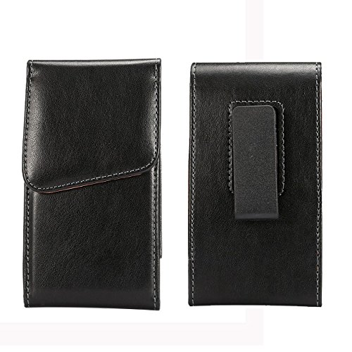 Premium PU Leather Vertical Executive Holster Belt Clip Pouch Case for iPhone 7 Plus / BLU R1 Plus / OnePlus 5 /3T / Motorola Moto G5 Plus / Z2 Play - Vertical Executive Case