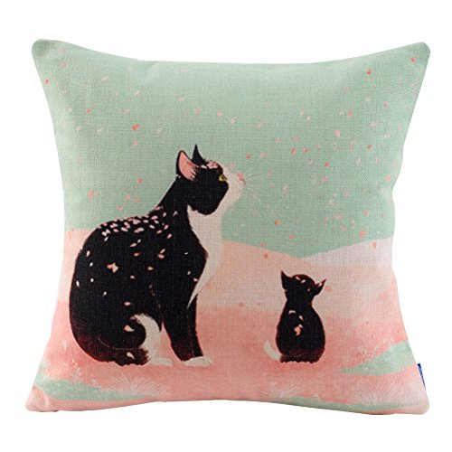 JES&MEDIS Cherry Blossoms Cat Print Square Throw Pillow Cover Cotton Linen Spring Home Decorative Cushion Case for Bed Office Car 18 x 18 Inches ()