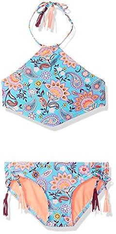 Gossip Girl Big Girls' Le Corsaire Two Piece Bikini Swimsuit, Aqua/Brown, 7 - Brown 2 Piece Bikini Swimsuit