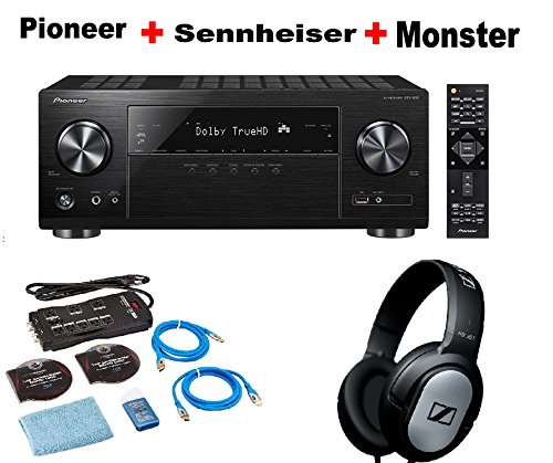 Pioneer-Dolby-Atmos-Ready-Audio-Video-Component-Receiver-Black-VSX-832-Monster-Home-Theater-Accessory-Bundle-SENNHEISER-HD206-Bundle