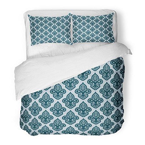 SanChic Duvet Cover Set Blue Ancient Fleur De Lis Antique Baroque Classic Classical Color Decorative Bedding Set with 2 Pillow Shams Full/Queen (Full Color Floral Vignettes)
