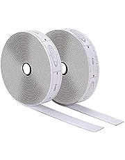 ECENCE Klittenband zelfklevend, incl. meetlint in cm om de klittenbandstrip gemakkelijk te snijden binnen + buiten voor alle schone oppervlaktes Plastic Hout Porselein