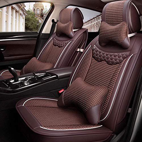 Lykaci Car Seat Covers Set Leather, Universal 5 Seats Seat Cushions for the front seats and rear seat Seats Seat cover with cushions (Color : Brown):