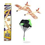 Balsa Wood Airplane Glider with Parachute Man - Jetfire Twin Pack Party Set of 3
