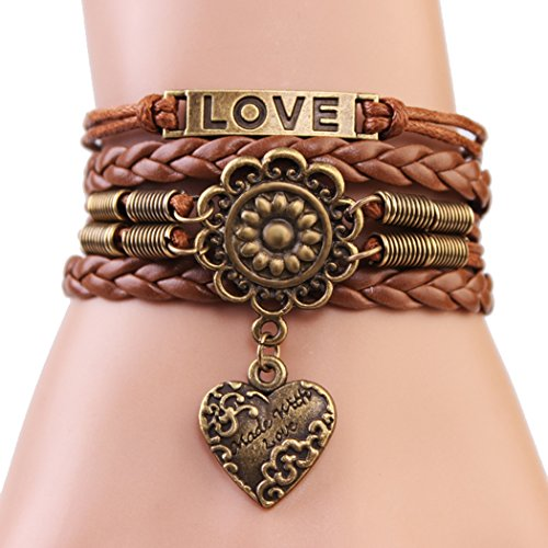 Price comparison product image Red Dandelion Bronze Love Sunflower Heart-shape Unisex Exquisite Handmade Rare Bracelet