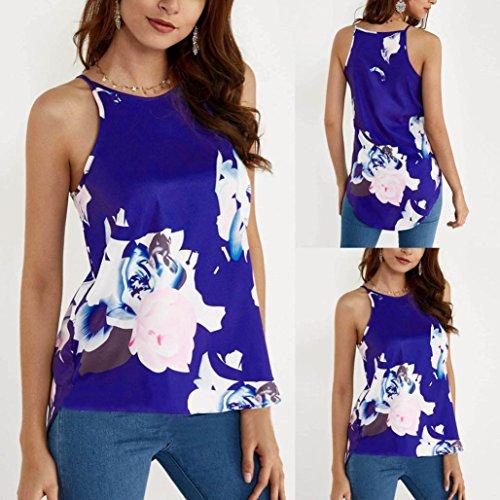 ❤️Femmes gilet débardeur blouse imprimé T fleur sans manches Violet Casual shirt Tefamore 0rw01