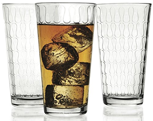 Cooler Glasses Vortex by Circleware-Set of 4 Drinking Glasses 17 OZ