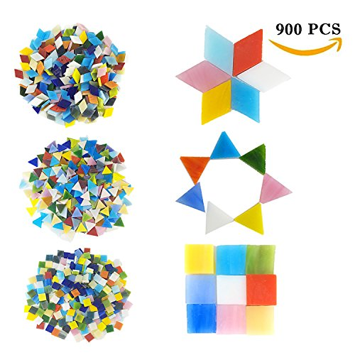Mixed Color Mosaic Tiles Mosaic Glass Pieces with 300 Pcs Square Mosaic Tiles, 300 Pcs Triangle Mixed Colors Stained Glass, 300 Pcs rhombus MosaicTiles for Home Decoration or DIY (Orange Stained Glass Mosaic Tile)