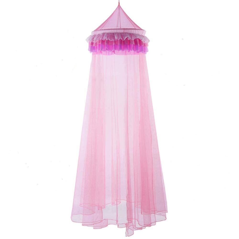 SRETAN Canopy Safty Mosquito Netting Dome Princess Pink Polyester Bed Baby Kids Girls Home Decor Height Size 7.5 Feet