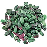 SUNYIK Ruby in Fuchsite Tumbled Chips Stone Crushed Pieces Irregular Shaped Stones 0.3-0.5 inch 1pound(about 460 gram)