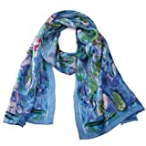 "Luxurious 100% Charmeuse Silk Long Scarf Claude Monet's ""Water Lilies"""