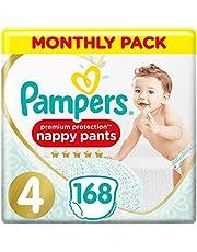Pampers Premium Protection Nappy Broek Maandelijks Saving Pack, zachtste aanraking op de huid In Easy-On Nappy Broek