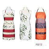 FBTS Prime Cute Apron Kitchen Sets 3 Pack for Women and Men Water Resistant Adjustable Buckles with Two Big Front Pockets (Orange White)