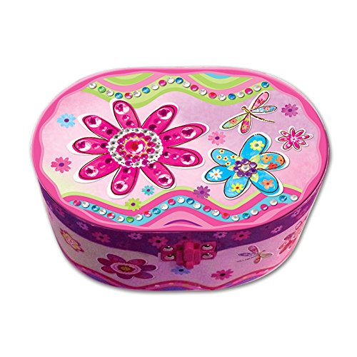 Floral Music Jewelry Box (Hot Focus Flower Meadow Oval Shaped Musical Jewelry)
