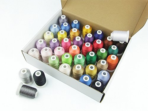 Simthread 40 Spools Polyester Embroidery Machine Thread Bright and Beautiful Colors for Brother Babylock Janome Singer Pfaff Husqvarna Bernina Machines