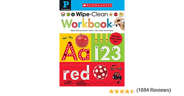 Scholastic Wipe-Clean Board Books Bundle Set Pre K 10 Books /& Dry Erase Pen