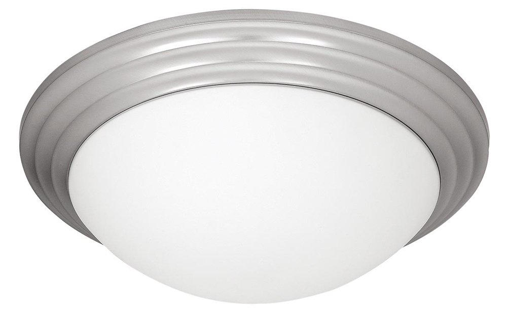 Strata - 16''dia Flush Mount - Brushed Steel Finish - Opal Glass Shade