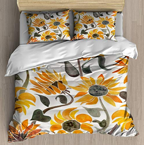 Sunflower Watercolor 鈥?Yellow & Black Palette Duvet Cover Set Bed Sheet Pillowcase Bedding Cotton Ultra Soft 3D Pattern Unique Art Design Full Set Duvet Cover - Queen/Full