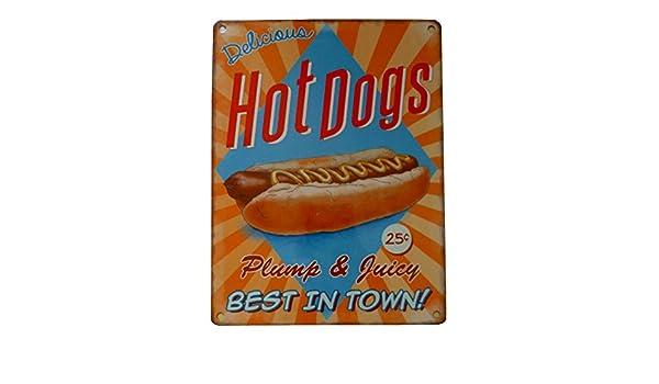 Cartel metálico con texto «Delicious Hot Dogs», de 20 x 15 ...