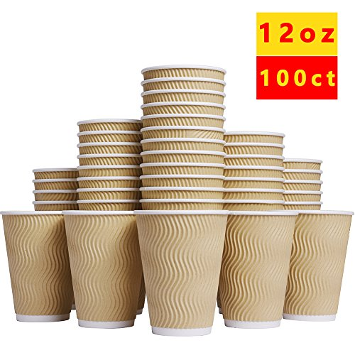 Cup Corrugated (Luckypack Hot Paper Cups_12 oz Disposable Insulated Corrugated Sleeve Ripple Wall Paper Cup for Drink,Hot Coffee Cups (100,12oz Cups))