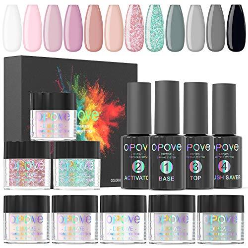 Dip Powder Nail Kit, opove Nail Dipping Powder Starter System French Nail Acrylic Powder Set - 12 Colors