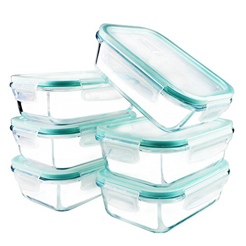YEBODA Glass Food Storage Containers with Airtight Snap Lock