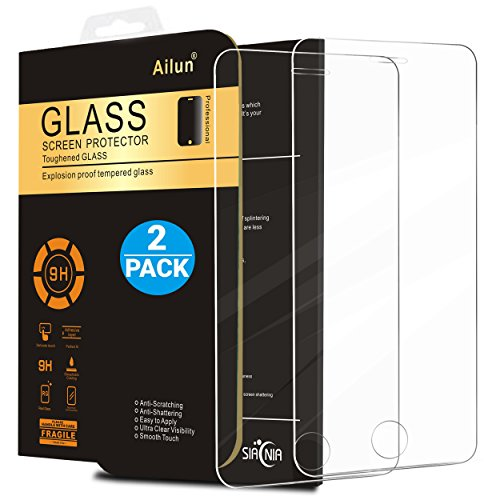 iPhone 5S Screen Protector,iPhone SE Screen Protector,[2 Pack]by Ailun,2.5D Edge Tempered Glass for iPhone 5/5S/5C/SE,Anti-Scratch,Case Friendly-Siania Retail Package