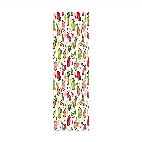 Decorative Window Film,No Glue Frosted Privacy Film,Stained Glass Door Film,Watercolor Pear Cherries Kiwi Apple Brushstroke Splashes Cute Kids Kitchen Decorative,for Home & Office,23.6In. by 78.7In Pe ()