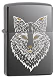 Zippo Lighter: Engraved Fox - Black Ice