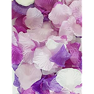 Ellami 1000pc Silk Rose Petals Wedding Flowers Favors(Purple Plus White) 17