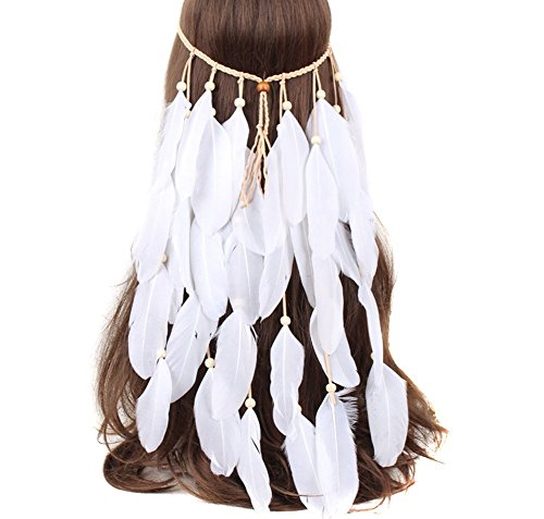 SEADEAR Indian Headdress Women Bohemia White Feather Tassel Headband Wedding Headbands for Bride Party Headwear Hair Styling Accessories