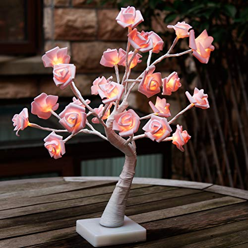 "EAMBRITE 24 Led Rose Flower Table Lamp 18"" Pink Tree Light for Chritsmas Wedding Living Room Bedroom Party Home Decor (Table Lamp Flower)"