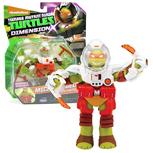 Playmates Year 2015 Teenage Mutant Ninja Turtles TMNT Dimension X Series 5 Inch Tall Figure - Space Traveler MICHELANGELO with Space Suit and Tonfas