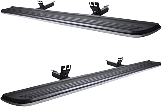   Factory Style Brushed Silver Rubber Black Side Step Bars Extensions by IKON MOTORSPORTS 2004 2005 2006 2007 2008 2009 2010 2011 Running Board Fits 2003-2012 Land Rover Range Rover NOT FIT SPORT