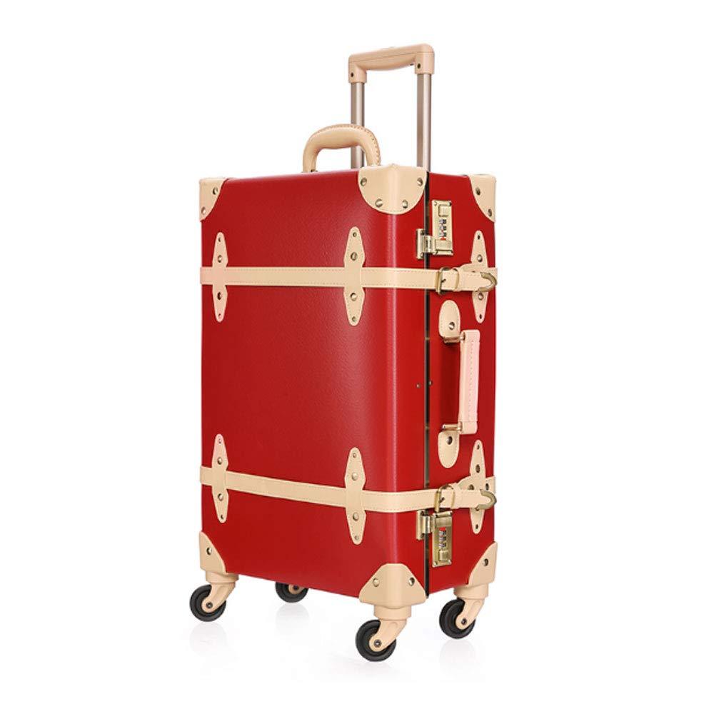 スーツケース 超軽量 キャリーケース 復古主義 トランク 旅行 出張 大容量 静音四輪 s型 キャリーバッグ 機内持込 XL(26\ レッド B07R1TYX75