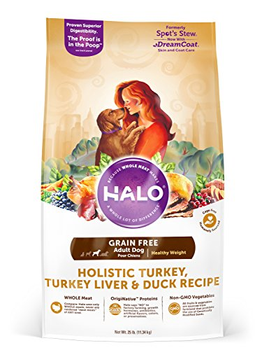 Halo Grain Free Natural Dry Dog Food, Healthy Weight Turkey, Turkey Liver & Duck Recipe, 25-Pound Bag