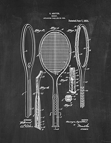Tennis Racket Patent Print Chalkboard (18