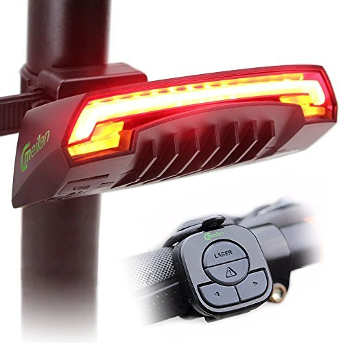 Smart Bike Tail Light X5 USB Rechargeable with Wireless Remote Turn signals Laser Beams for Moutain Bike,BMX Bike,Road Bicycle and Hybrid Bike 85 Lumens by AOKNES