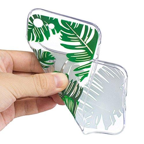 Per iPhone 7 Custodia ,Per iPhone 8 Custodia ,ZXLZKQ Verde foglie di banano Trasparente Morbido TPU Silicone Coperchio Skin Shell Caso Cover Bumper Protezione Case per iPhone 7 / iPhone 8