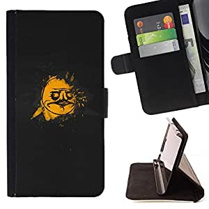 DEVIL CASE - FOR Sony Xperia Z1 Compact D5503 - Cartoon Comic Character Smiley Man Driving - Style PU Leather Case Wallet Flip Stand Flap Closure Cover